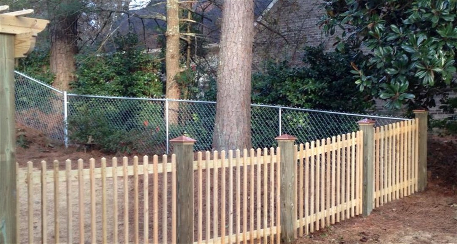 Akridge Fence Wooden Chain Link Fence Black Chain Link